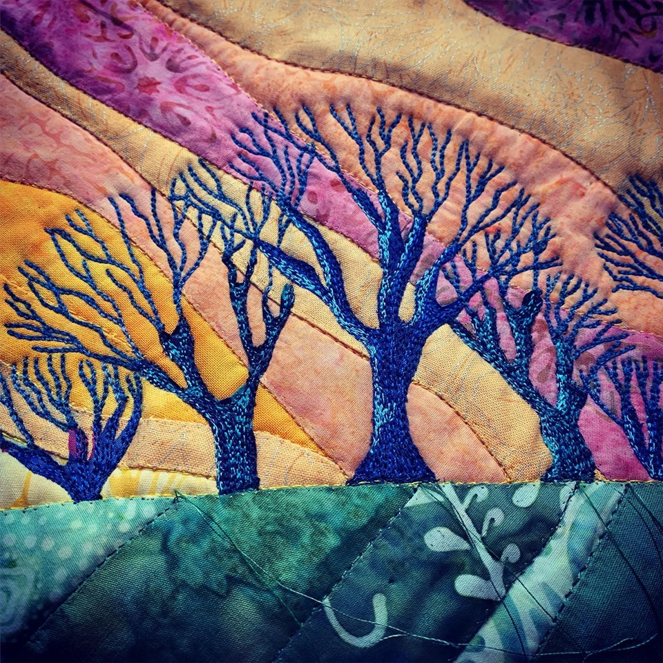 Evening Glow quilt inspirowany grafiką Rebecci Vincent
